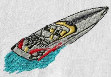 One secret: Speed boat embroidery design